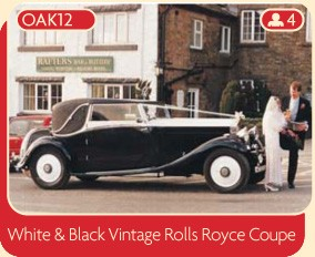 White & Black Vintage Rolls Royce Coupe
