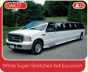 White Super-Stretched 4x4 Excursion